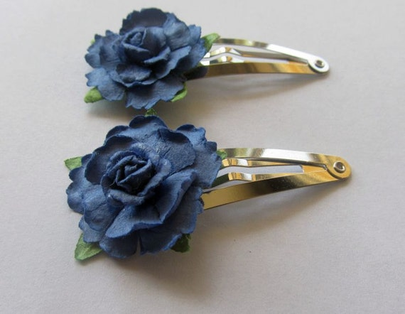 Blue Flower Barrettes