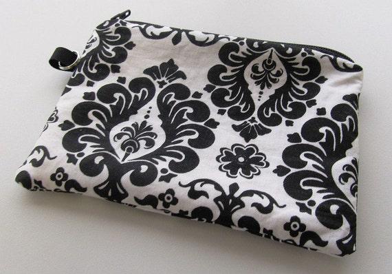 Wristlet, clutch, Damask print Wristlet, Black and White