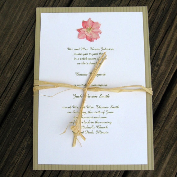 Items similar to real pressed flower wedding invitations for Wedding invitations with real flowers