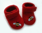 0-3 months\/Little Bees Felted Merino Baby Ankle Booties