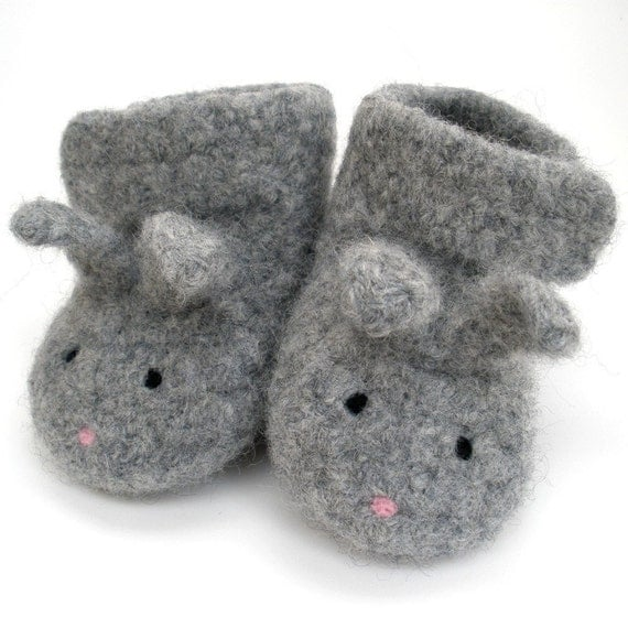 Gray Little Bunny Shoe-Shoes Felted Merino Baby Ankle Booties