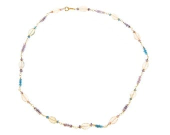 18k gold linked Tanzanite, Aquamarine, Iolite and Apetite necklace