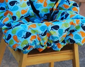 Shopping Cart Cover - Shopping Cart Cover for Boy Custom by Tinder Designs Boutique - Blue Whales