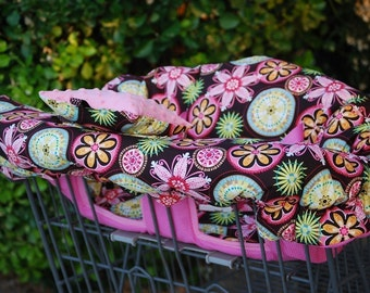 Shopping Cart Cover for Girl Custom by Tinder Designs Boutique - Carnival Bloom with pink Minky Dot Pillow