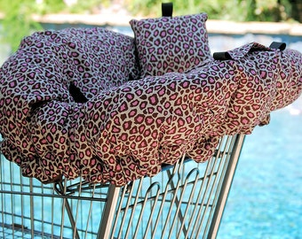 Shopping Cart Cover - Accessories for Baby - Shopping Cart Cover -  Chocolate and Pink Leopard with minky dot bottom
