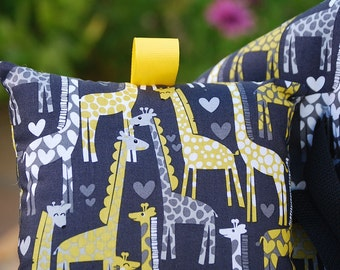 Shopping Cart Cover for Boy or Girl Custom by Tinder Designs Boutique -  Giraffe Love in Grey