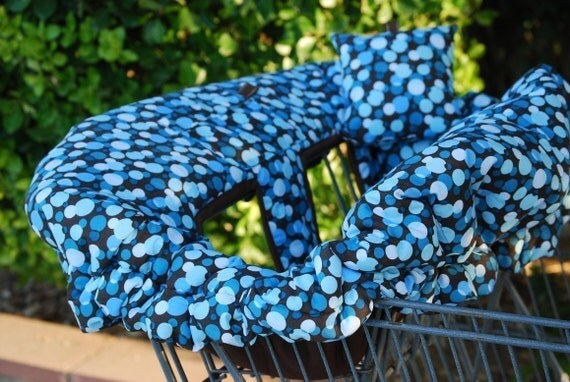 Shopping Cart Cover, Bouitque shopping cart cover, plus Pillow - Chocolate Brown Blue Dots