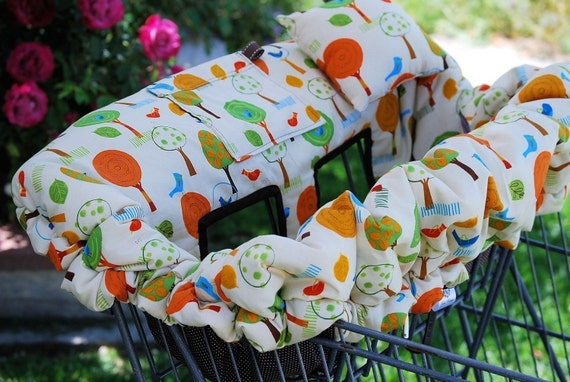 Shopping Cart Cover - Custom Boutique Shopping Cart Cover for Baby Boy or Girl -Trees and Birds