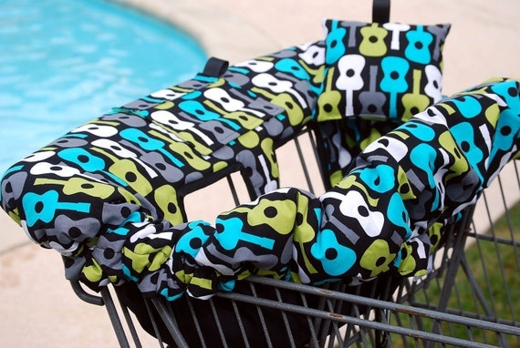 Shopping Cart Cover -  Boutique shopping Cart Cover for Boy or Girl -  Lagoon Groovy Guitar