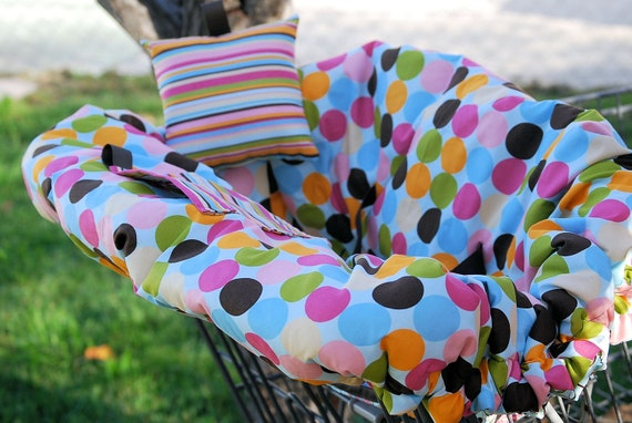 Shopping Cart Cover - Boutique shopping cart cover for Girl  -  Mod dots with Stripes and floral bottom