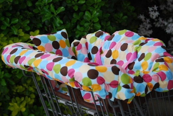 Shopping Cart Cover - Custom Boutique Shopping Cart Cover - Large Multi Mod Dots