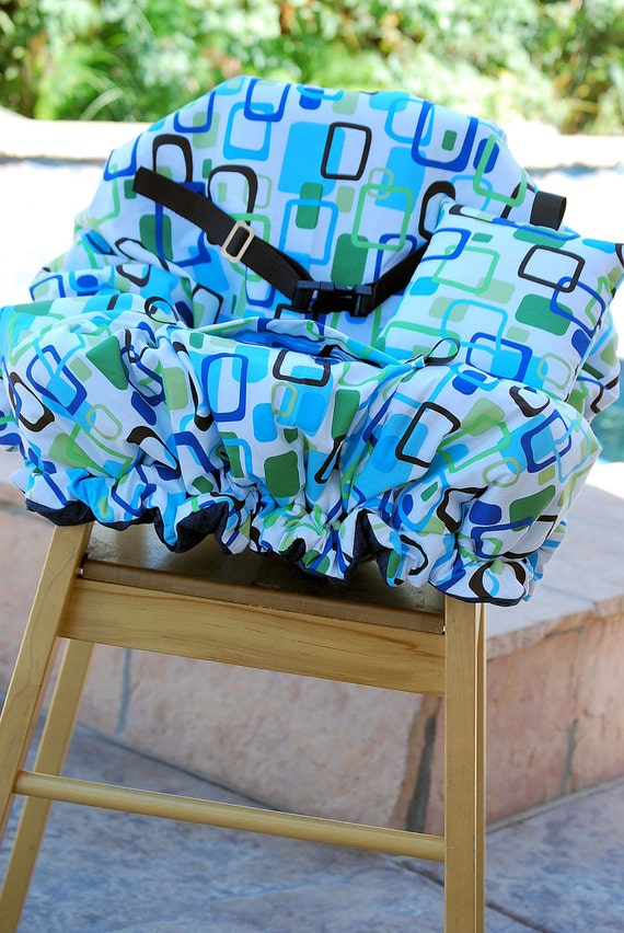Shopping Cart Cover - Custom Boutique Shopping Cart Cover for Boy  - Blue Green Geometric Cover