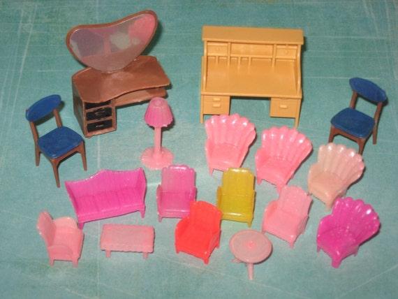 Vintage Miniature Plastic Dollhouse Furniture