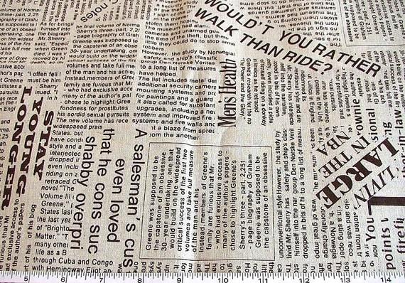 Newspaper Print Linen Cotton Blend Fabric Fat Quarter by aramaa