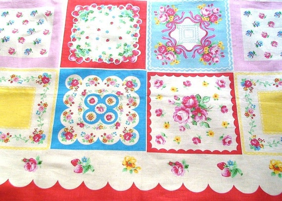 Vintage Style Roses and Strawberries Linen Cotton Panel