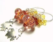 Sterling silver earrings,  artisan boro lampwork  beads and Swarovski crystals - Late Summer: topaz, amber, burnt orange, rust