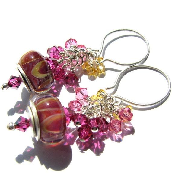 Sterling silver earrings, boro lampwork beads, Swarovski crystals - Shells - hot pink