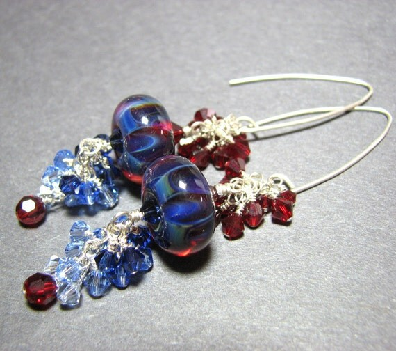 Long sterling silver earrings  boro lampwork  beads Swarovski crystals cascades - Sapphire Jewels: deep red, sapphire blues