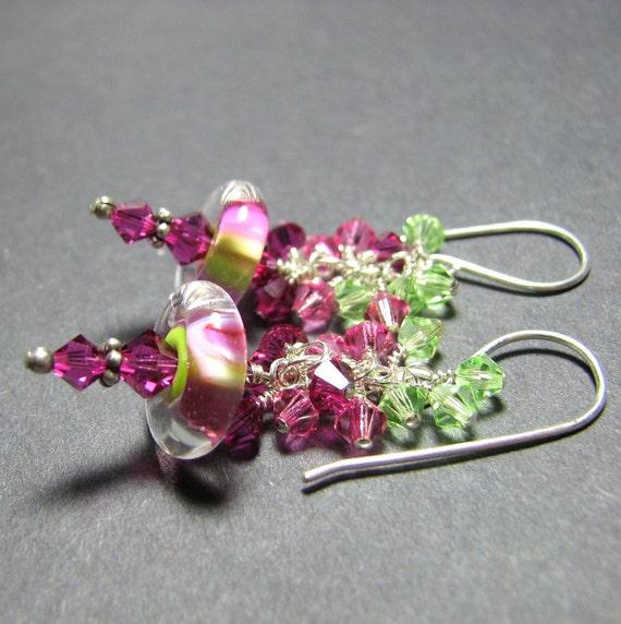 Pink green Boro lampwork earrings Hot pink glass bead earrings Swarovski crystals earrings handmade earring wires - Magnolia