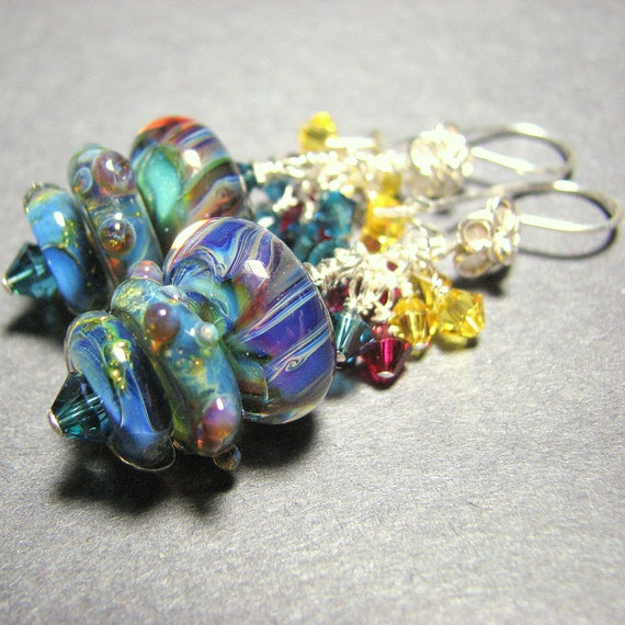 Sterling silver earrings  boro lampwork  beads Swarovski crystals cascades - Evolve: teal blues, aqua, ruby red, light topaz