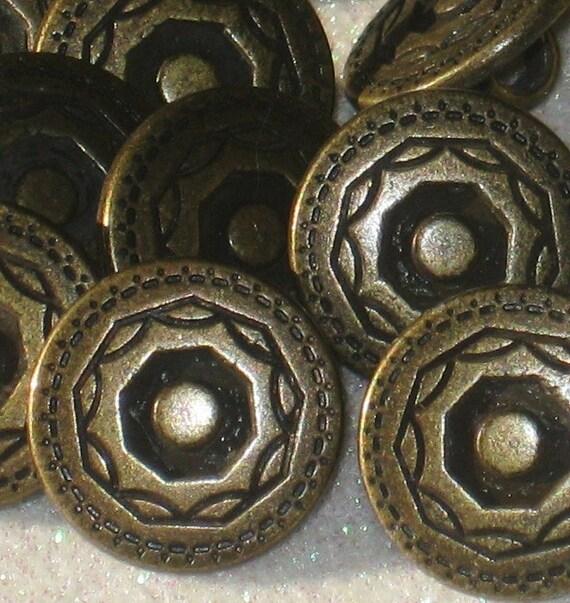 Ornate FLORAL Fancy Vintage Antiqued BRASS metal buttons Set 12