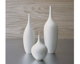 MADE TO ORDER~ 3 Small White Matte Bottle Vases by Sara Paloma Pottery