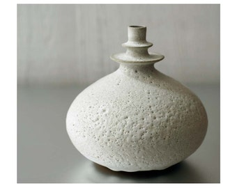 MADE TO ORDER- One Large Ceramic Double Flanged Rotund Vase in Beach Stone White by Sara Paloma. white modern vase pottery bud vase