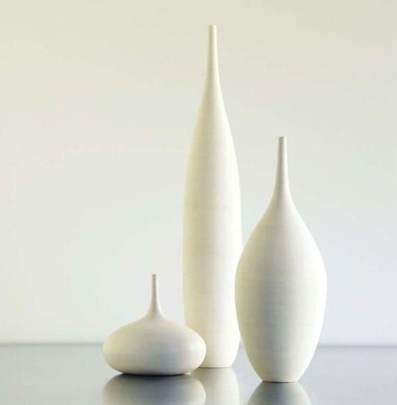 3 Large White Modern Ceramic Bottle Vases In