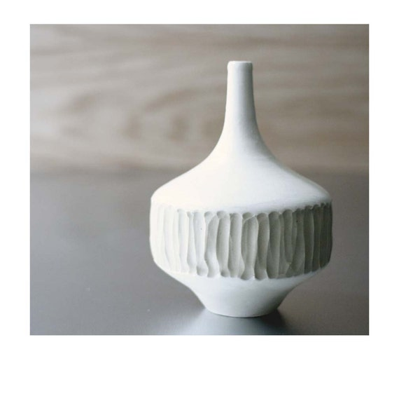 Small Carved Bottle Bud Vase-  by Sara Paloma