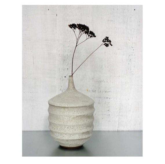 MADE TO ORDER- 1 large  ceramic stoneware  Aspirator Vase by Sara Paloma. mid century modern white ceramics vases white pottery sarapaloma