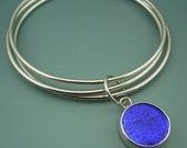 Bangle Cluster with Dichroic Glass charm