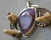 Artemis Amulet Necklace Made With Druzy Agate And Deer Antler