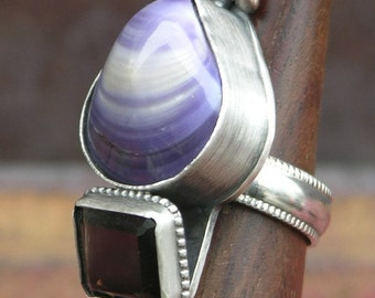 Clammed Up Ring Made With A Shell and Smoky Quartz