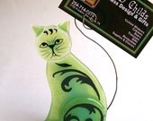 Photo Holder/Business Card Holder  Fused Glass (Scrap Daddy Cat in Green) Sitting