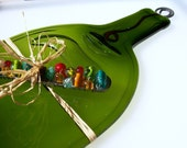 Large Eco Friendly Green Wine Bottle Cheese Tray with BEADED CHEESE SPREADER (Upcycled,Recycled)
