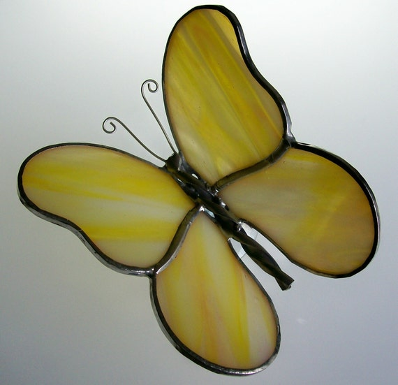 3-D Stained Glass Butterfly Suncatcher (Yellow)