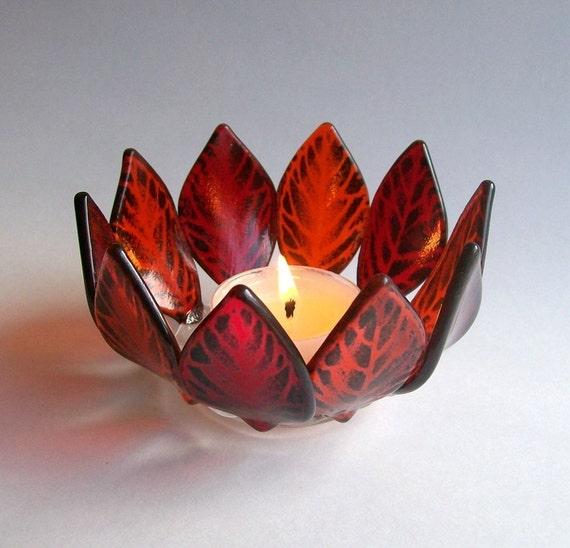 glass candle holder votive fused glass red orange. Black Bedroom Furniture Sets. Home Design Ideas