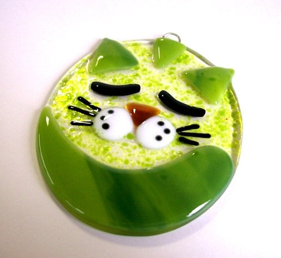 Fused Glass Suncatcher (Fat Cat) Green