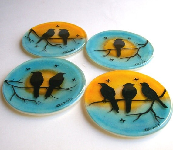 Fused Glass Coasters (Birds On A Branch)