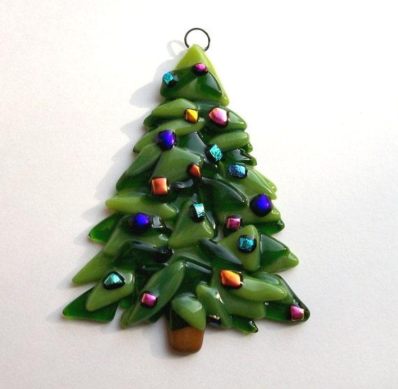 Fused Glass Christmas Ornament (Christmas Tree)