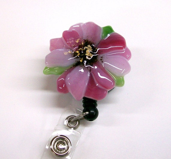 Retractable Badge Holder Fused Glass Pink Flower