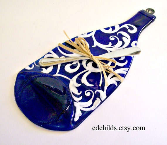 Flattened Eco Friendly Blue Wine Bottle Cheese Tray Painted Design in White  (Upcycled,Recycled)