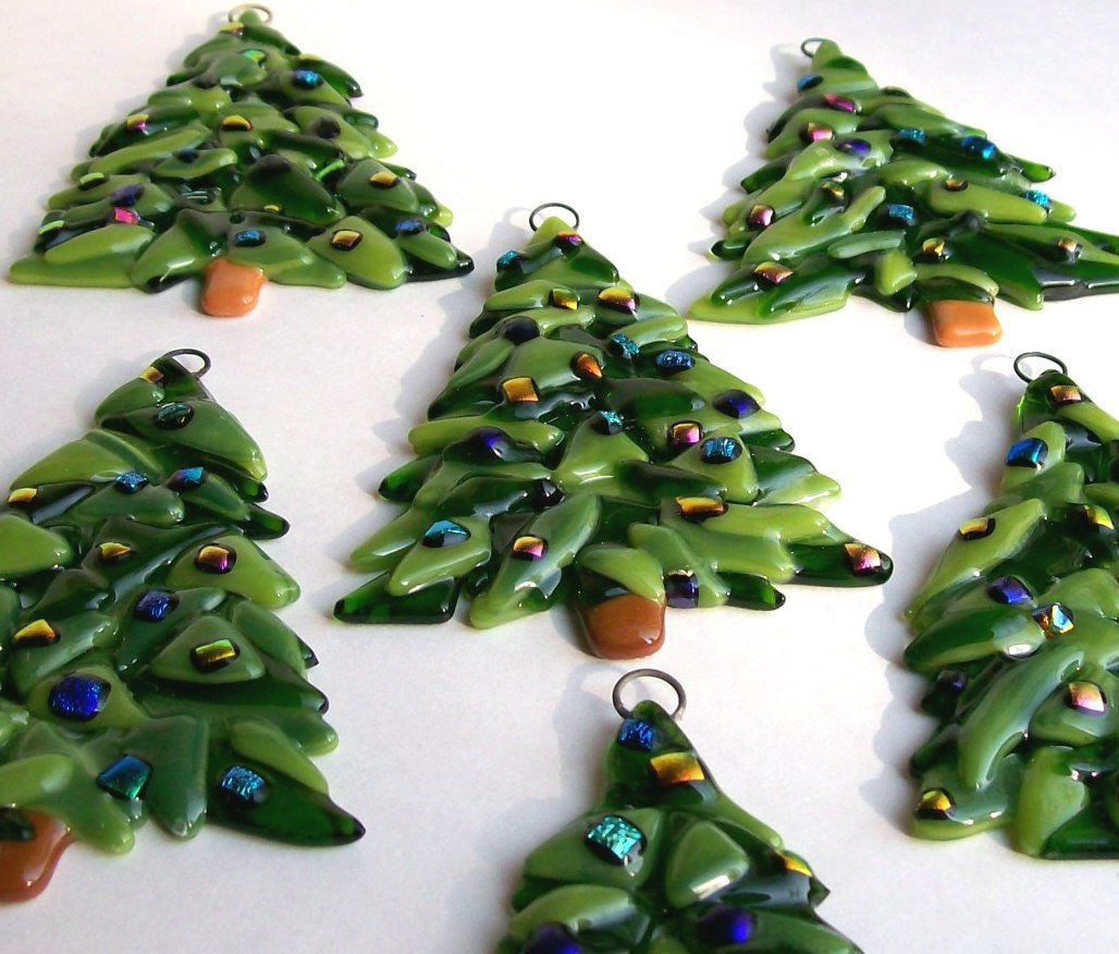 Fused glass christmas ornament tree by cdchilds