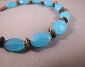 Adjustable Turquoise Glass and Copper Bead Bracelet