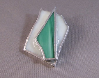 Green and White Stained Glass Pin