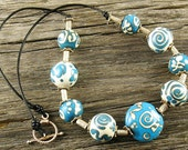 Christmas Blowout Sale...Handmade Southwestern Style Lampwork Bead (9) Necklace With Silver...Free Shipping