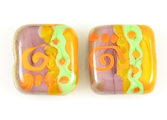 Handmade Artisan Organic Tribal Style Lampwork Orange Violet Green Square Glass Bead Pair SRA
