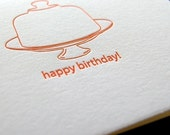 Happy birthday letterpress card, with cake plate