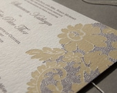 Vintage Lace, letterpress wedding invitation