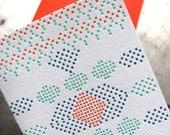 Oval - Letterpress cross stitch card
